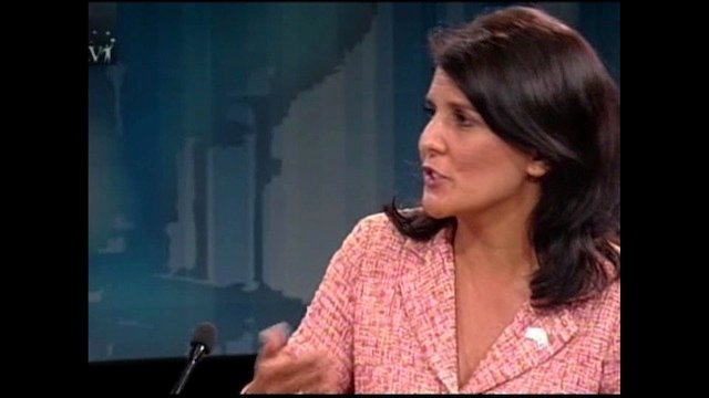 Nikki Haley at the table during the final debates on Tuesday night.