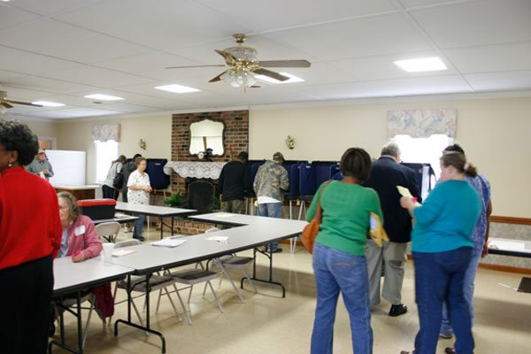 People living in the Chalk Hill precinct wait for a voting booth to open at Shiloh Methodist Church.