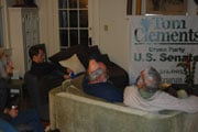 Clements supporters gathered in the living room to watch election results through the night.
