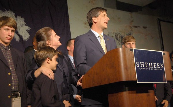 "Sheheen addresses his guests and thanks them for their support. ""I have no regrets,"" he said."