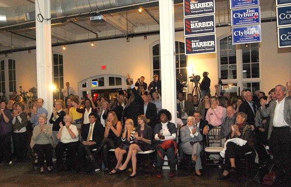 The crowd erupts in cheers as positive results filter in early in the evening.