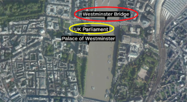 The terrorist attacked on the Westminster Bridge near the British Parliament.