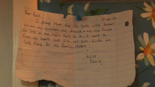 """A note by one of the residents saying """"Guide me Lord in the right thing to do."""""""