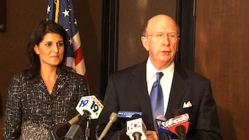 Ambassador Wilkins stood by Haley's side in support at Monday's press conference.