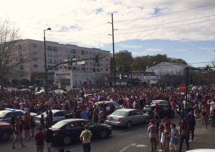 Hundreds flooded the streets of five points after men's victory sunday afternoon. Picture from Cannon King.