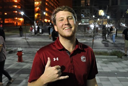 USC senior business student Josh Birkbeck said watching his Gamecocks advance to the Final Four was a dream come true and he's glad he stayed in Columbia to enjoy the victory with his fellow students.