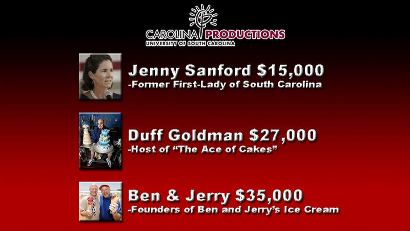 Ben and Jerry ice cream makers received $37,000 from Carolina Productions for making an appearance.  Jenny Sanford and Duff Goldman from Ace of Cakes followed closely behind.