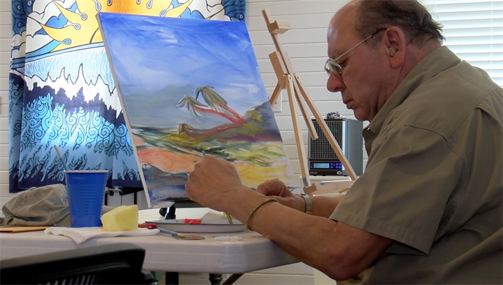 Veterans are able to do activities such as painting to destress.