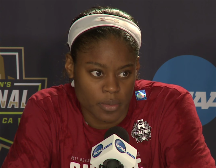 Kaela Davis talks to the media after advancing to the Final Four.