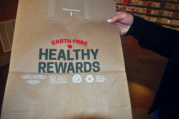 Earth Fare prides itself on offering Rainforest Alliance Certified, post consumer paper bags meaning that the bag you use to check out at the store is 100 percent recycled.