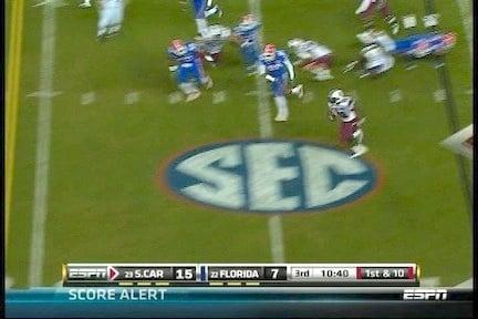 Running back Marcus Lattimore breaks away from Florida defenders.