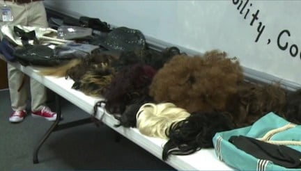 Police found 13 wigs along with 103 purses inside David Rice's home. Rice and his accomplice used the wigs to disguse themselves and use the stolen credit cards.