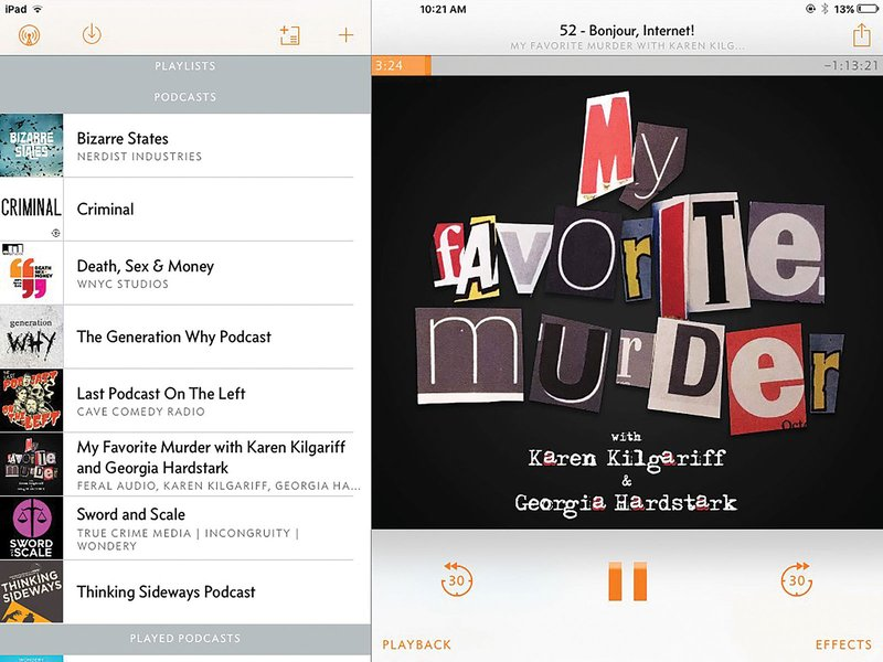 Apps like Overcast give listeners an easy-to-use way to organize the podcasts they listen to, and let users listen on or offline.
