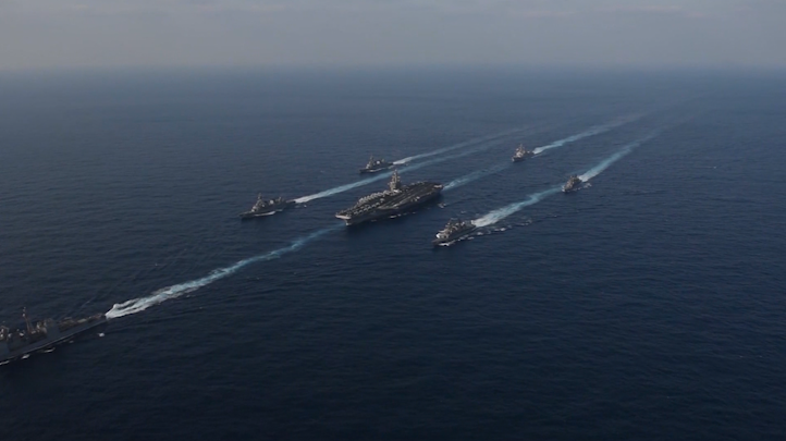 USS Carl Vinson strike force moving into the East China Sea.