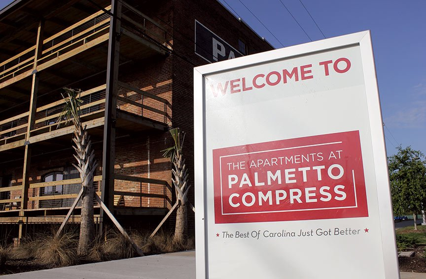 Palmetto Compress, located on Devine Street, was converted from a warehouse and turned into private student housing. The building's property taxes will be cut in half for the next decade as part of the deal struck with the city.