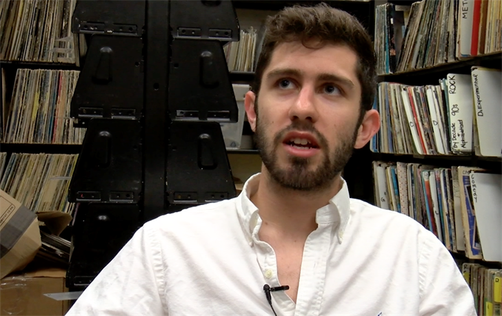Michael Evanko, a student DJ, prefers vinyl albums for their quality of music.