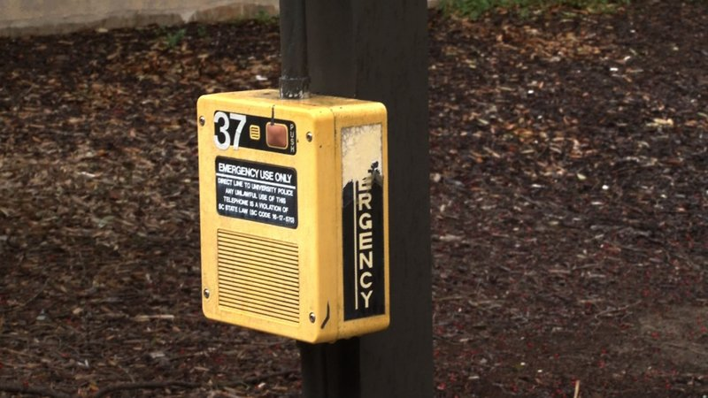 Emergency boxes are in various positions around campus for students if they ever need emergency help.