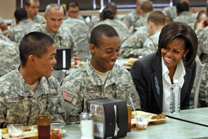 First Lady got a chance to visit with soldiers at Fort Jackson before her speech to troops at graduation.