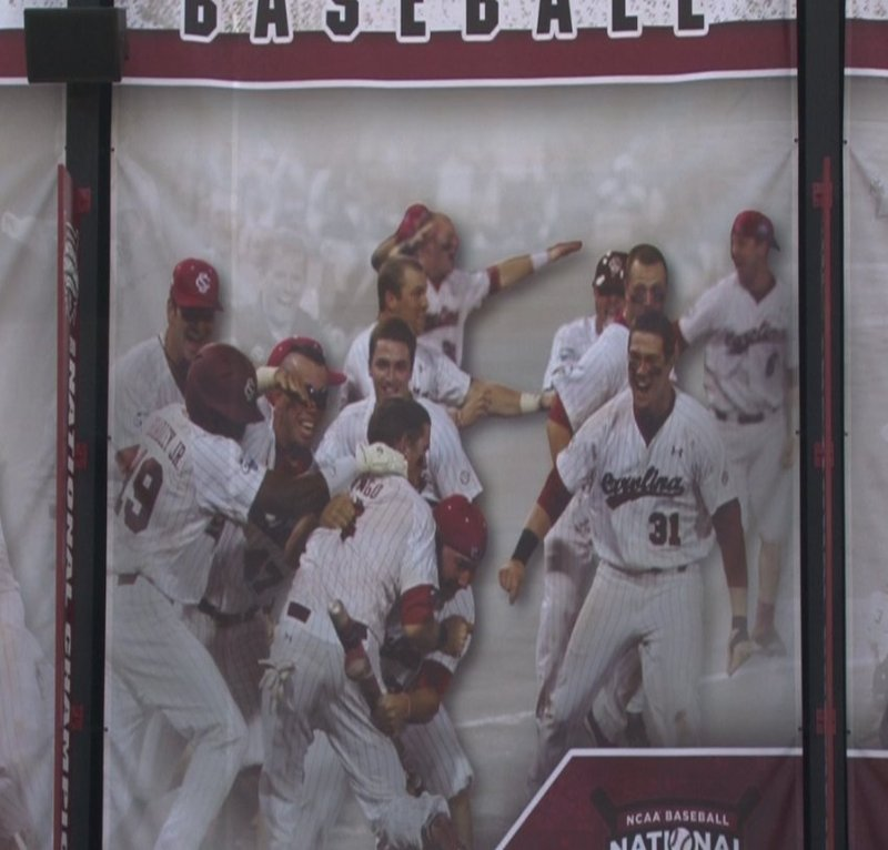 The new mural highlights the Gamecock's National Championship win in Omaha.
