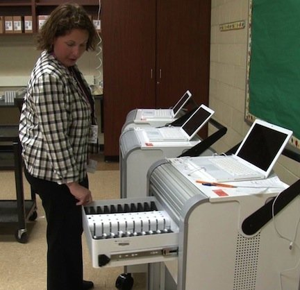 Principal C.R. Hall says the Ipods are placed in the charging station overnight and they pick up the same one in the morning.