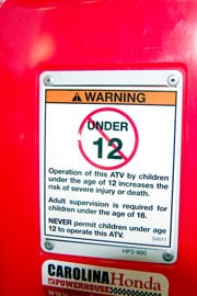Federal law requires all ATVs to bear similar warning lables that designate what age they're suited for.