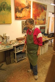 """Laura Spong steps back from the easel in her studio. """"I'm just doing what I like to do,"""" she says. """"And even now, if I never sold another picture, I'd keep right on because this is what I like to do."""""""