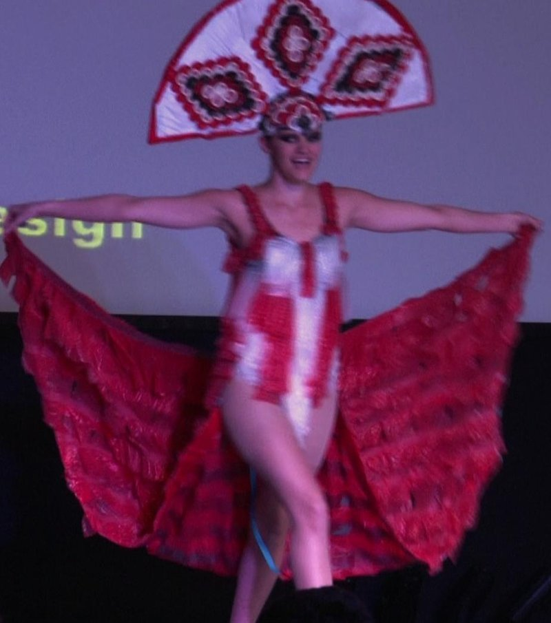 """""""Waking Up In Vegas"""" won first place in USC'S Project Condoms fashion show"""