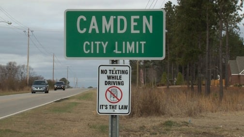Camden banned texting while driving over a year ago.
