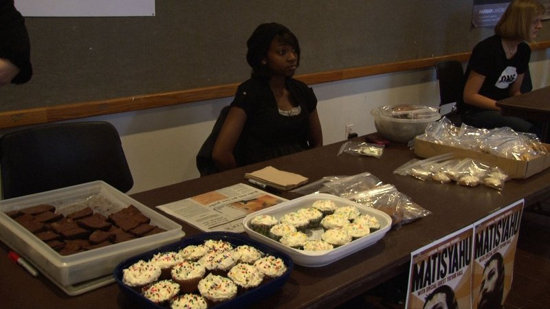 Members of Jewish Life on Campus host a bake sale in Russell House to raise money for their club.