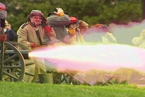 Civil War re-enactors fire cannons at Fort Sumter in Charleston