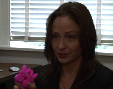 Dr. Erin Roberts shows her favorite part of Easter: Peeps candy