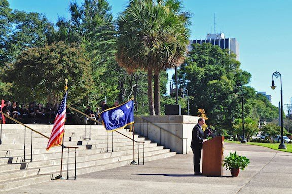 South Carolina Attorney General, Alan Wilson, addressing the crowd about domestic abuse at the 2017 Silent Witness Ceremony and also honoring the 39 men and women who died in 2016.