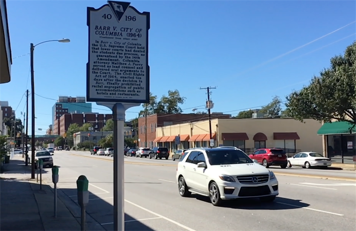 The new historical marker at 1520 Taylor Street stands in honor of five students from Benedict College who staged a sit in on March 15th, 1963.