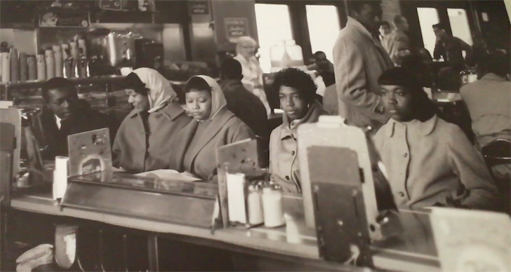 A historical photo of the five students from Benedict College who were arrested in 1963 for staging a sit-in at the Taylor Street pharmacy.