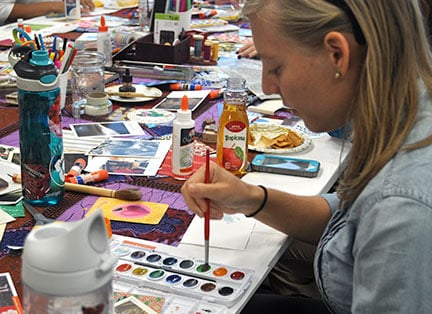 The Traveling Postcards workshop resonated with Kelsey Phillips because she finds art a healing way to communicate feelings that are hard to verbalize.