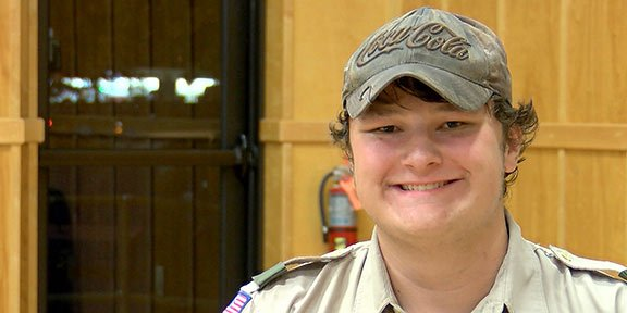 Grant Lindsay, Senior Patrol Leader of Troop 410, hopes that more parents join the troop to help more kids stay in scouting.