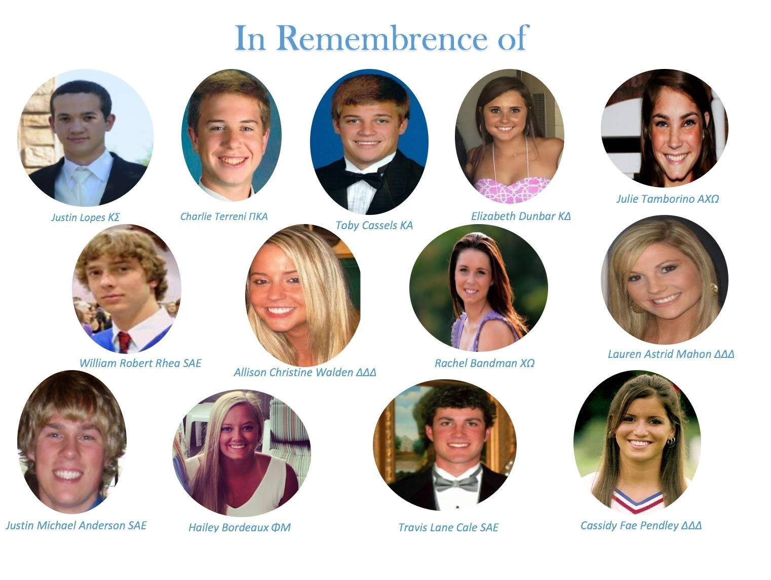 The thirteen people who will be remembered