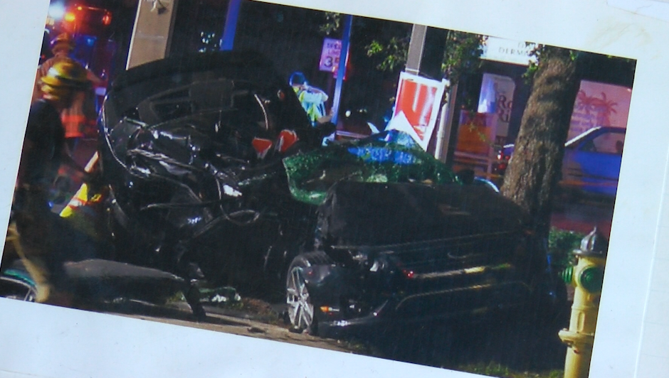 The car the McConnell family was riding in was demolished in the crash.