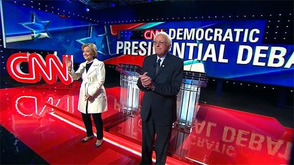 Bernie Sanders and Hillary Clinton at 2016 primary debate.