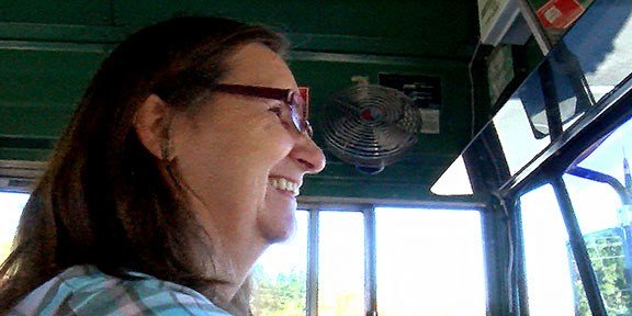 Rhonda Watson, Dutch Fork Middle School bus driver, has driven her 27-year-old bus named Nelly for over 10 years.