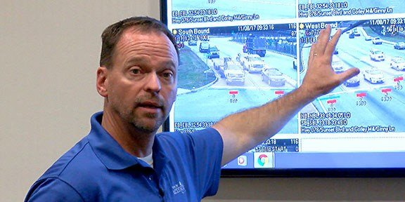 Randy Edwards, Lexington director of transportation, showcases how the cameras give faster signals than before to reduce traffic congestion.