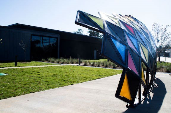 The Band Shell, a performance structure located on the outside of the St. Andrew's Library. The structure, created by artist Jarod Charzewski, has built-in speakers and blue-tooth capability for community events and activities,