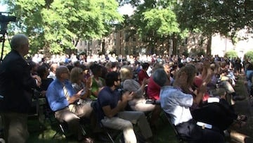 An eager crowd listens to President Pastides talk about the future of USC.