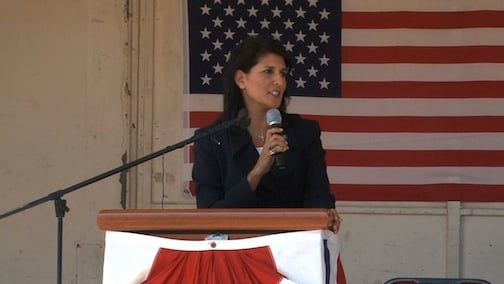 Nikki Haley spoke at the Columbia Metropolitan Centers ceremony.
