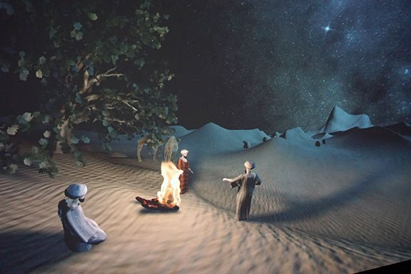 This scene in the show illustrates the three wise men seeing the Star of Bethlehem as a sign of the Jewish Messiah's birth for the first time.