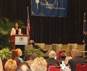 Gov. Nikki Haley tells the Tourism and Higher Education Summit that it's time to get more students interested in the state's tourism industry as a career.