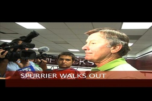 Spurrier spoke with television news reporters separately after ending the news conference.
