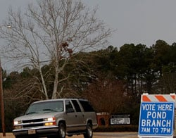 Gray skies and rain didn't keep voters away from the Pond Branch precinct