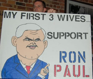 Ron Paul's supporters poked fun at Newt Gingrich, who is married to his third wife.