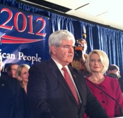 "Gingrich and his wife, Callista, fire up supporters before heading onto Florida for that state's Jan. 30 primary. ""This is the most important campaign of our lifetime,"" he told the crowd."